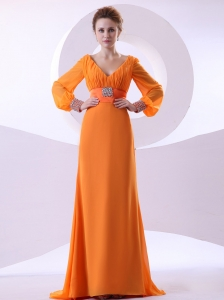 V-neck Beading and Ruching Decorate Bodice Long Sleeves Orange Chiffon Brush Train 2013 Mother Of The Bride Dress