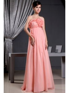 Watermelon Elegant Prom Dress With Hand Made Flowers