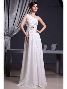 White One Shoulder Beading For Prom Dress Floor-length Chiffon