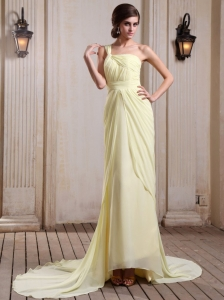 Yellow Green Prom Dress With One Shoulder Court Train Chiffon