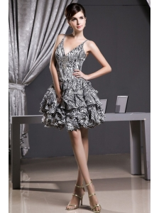 Zebra Prom Dress With Straps A-line Mini-length