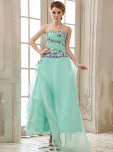 Apple Green Appliques and Ruched Bodice For Ankle-length Prom Dress