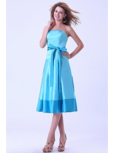 Aqua Blue Bridemaid Dress With Sash Tea-length Satin