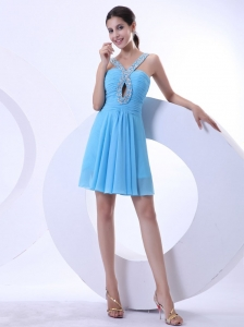 Aqua Blue Prom / Cocktail Dress With Beaded V-neck Mini-length Chiffon