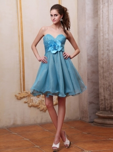 Baby Blue Prom / Homecoming Dress With Sweetheart Beaded and Hand Made Flower Knee-length
