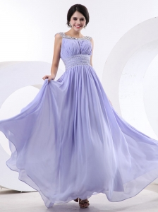 Beaded Decorate Bateau and Waist For Lilac Prom Dress With Floor-length