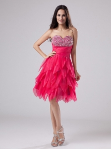 Beaded Decorate Bust Sweetheart For Coral Red Prom / Cocktail Dress With Ruffles Knee-length