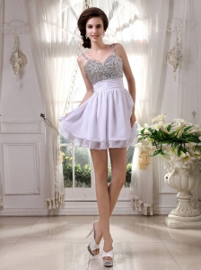 Beaded Prom / Cocktail Dress With Spaghetti Straps Mini-length For Club
