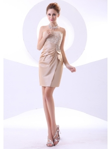 Beading and Lace Decorate Bodice Strapless Mini-length Champagne 2013 Prom Dress
