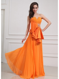 Beading Chiffon Sweetheart Floor-length Empire Orange Prom Dress
