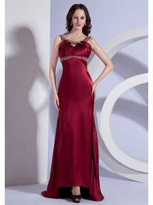 Beading Decorate Bodice Straps Burgundy Taffeta Brush Train 2013 Prom Dress