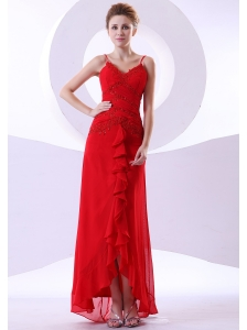 Beading Decorate Bodice Straps Red Chiffon Ankle-length 2013 Prom Dress