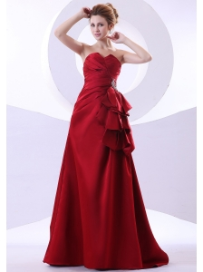 Beading Decorate Bodice Wine Red Taffeta A-line Sweetheart Neckline Floor-length 2013 Prom Dress