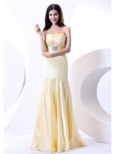 Beading Strapless Floor-length Light Yellow Elastic Woven Satin 2013 Prom Dress