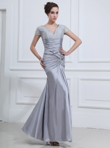 Beading V-neck Mermaid Taffeta Ankle-length Prom Dress Grey