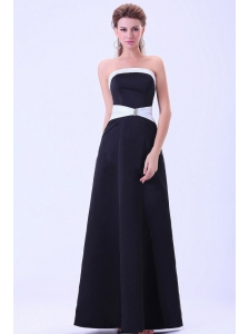 Black Bridemaid Dress A-line Satin Floor-length
