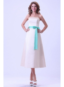 Champagne Bridemaid Dress With Turquoise Sash Tea-length Satin