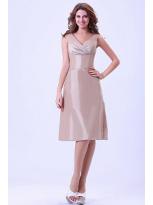 Champagne V-neck Bridemaid Dress With Knee-length