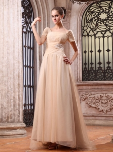 Champagne Wedding Dress With Appliques Square Brush Train Short Sleeves