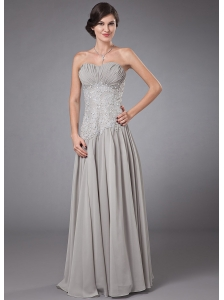 Column Sweetheart Chiffon Floor-length Beading Prom Dress Grey