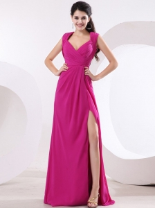 Fuchsia and V-neck For High Slit Prom Dress With Ruch and Brush Train