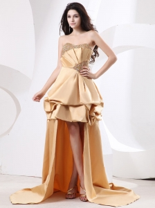 High-low Champagne Prom Dress With Beading Pick-ups and High-low