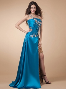 High Silt and Appliques Ruch For Custom Made Prom Dress