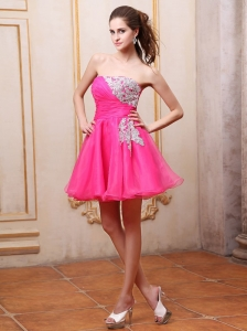 Hot Pink Prom / Cocktail Dress With Appliques Mini-length For Club