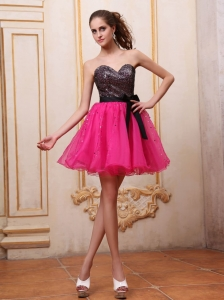 Hot Pink Prom / Cocktail Dress With Sequin and Black Bowknot Mini-length For Party
