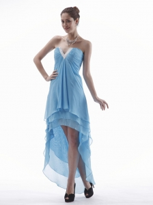 Light Blue High-low Prom Dress With V-neck Chiffon For Custom Made