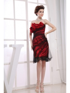 One Shoulder Column Tulle Hand Made Flowers Knee-length Red Prom Dress