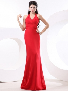 Red Column Prom Dress With Halter Brush Train For Custom Made