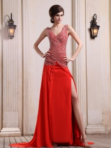 Red Prom / Evening Dress With Beaded Decorate Up Bodice High Slit Court Train Chiffon V-neck