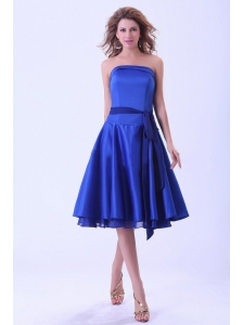 Royal Blue Bridemaid Dress With Sash Tea-length Satin