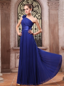 Royal Blue Prom Dress One Shoulder Hand Made Flower Pleat Chiffon