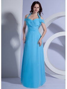 Ruching Decorate Bodice Aqua Blue Chiffon Floor-length 2013 Prom Dress