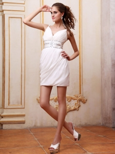 Short Prom Dress With Beaded Decorate Waist and Straps Mini-length