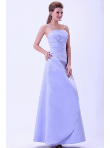 Spaghetti Straps Lilac Bridemaid Dress A-line Satin