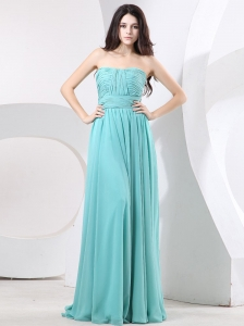 Strapless and Ruch For Simple Prom Dress With Green