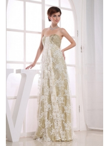 Stylish Empire Floor-length Sweetheart Prom Dress Sequins Champagne