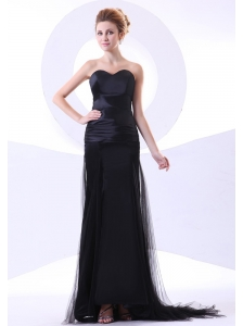 Sweetheart Neckline Column Black Tulle and Taffeta Brush Train 2013 Prom Dress