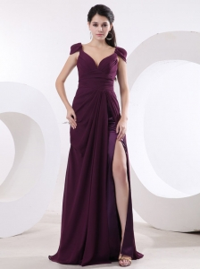 V-neck and High Slit For Sexy Prom Dress With Cap Sleeves