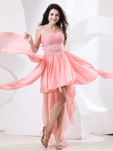 Watermelon High-low Prom Dress With Beaded Chiffon For 2013 Custom Made