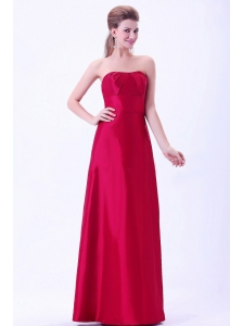Wine Red Bridemaid Dress A-line Floor-length Taffeta