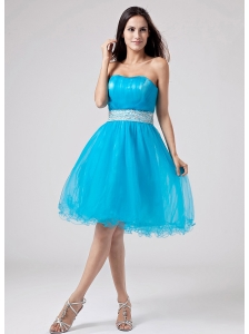 2013 Teal Strapless Prom Dress With Sash and Ruch With Organza