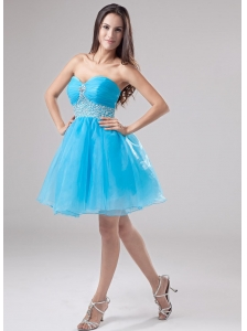 A-Line Beading Organza Sweetheart Mini-length Prom Dress Baby Blue