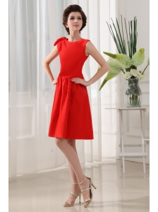 A-Line Bridesmaid Dress Red Knee-length Taffeta Scoop Knee-length