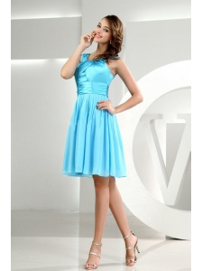 A-Line Straps Chiffon Knee-length Baby Blue Bridemaid Dress