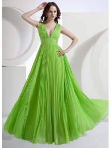 A-Line V-neck Chiffon Floor-length Pleat Prom Dress