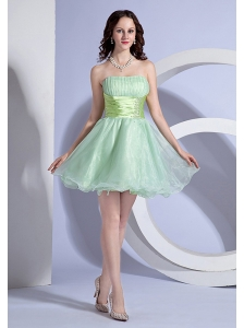 Apple Green A-line Mini-length Beading Decorate Waist Strapless Organza 2013 Prom Dress